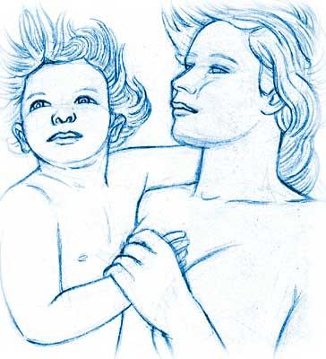 Enfant de l'eau, dessin au trait