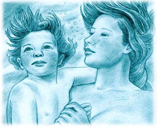 Enfant de l'eau, dessin au graphite